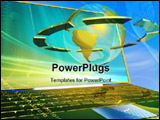 PowerPoint Template - 3d concept of golden portable in sky
