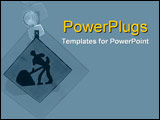 PowerPoint Template - Construction symbol with warning light on blue