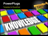 PowerPoint Template - close up several coloured books with the word knowledge (3d render)