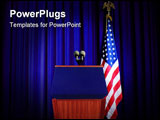 PowerPoint Template - Image of podium during press conference with blue curtain background