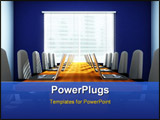 PowerPoint Template - 3D rendering of an empty meeting room