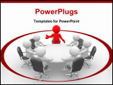PowerPoint Template - Leadership and team at conference table. This is a 3d render illustration