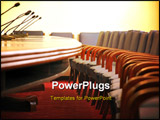 PowerPoint Template - microphones in the empty conference room chairs in the conference room