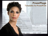 PowerPoint Template - African American lady looks confidently at the camera.