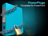 PowerPoint Template - Locked file holder (3D rendered illustration over white background)