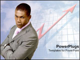 PowerPoint Template - Confident man over increasing graph arrow.