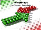 PowerPoint Template - 3d rendering of a green and a red arrow symbolysing a conflict