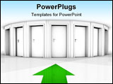 PowerPoint Template - rendering of a white room with closed doors and green arrow