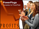 PowerPoint Template - photograph of a european-style business team applauding.