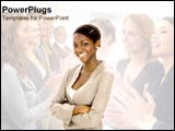 PowerPoint Template - Team congratulates business woman.