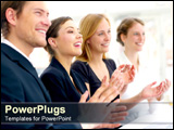 PowerPoint Template - Employees smiling and clapping in congratulations.