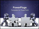 PowerPoint Template - 3D render of a robot solving jigsaw puzzle