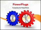 PowerPoint Template - Two 3d businessmen are inside different cogwheels