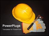 PowerPoint Template - on a background is yellow helmet work gloves tools