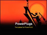 PowerPoint Template - worker in the sunset between black and orange color .