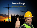 PowerPoint Template - foreman with yellow hat isolated on white background