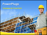 PowerPoint Template - image of a building construction with an engineer