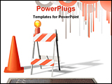 PowerPoint Template - construction cone & barrier on white