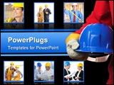 PowerPoint Template - man holding blue helmet over white close up