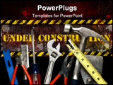 PowerPoint Template - Construction Tools in Pile. Focus on top surface of tools