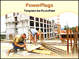 PowerPoint Template - two engineers constructing a building