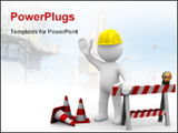 PowerPoint Template - Worker saying hello we are under construction