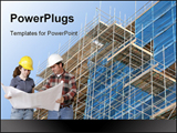 PowerPoint Template - Construction Team With Blueprints