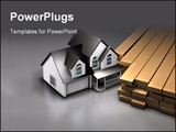 PowerPoint Template - d illustration of a simple two-story house sitting next to a pile of lumber on a reflective gray su