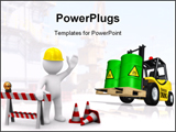PowerPoint Template - Construction toxic waste (transport of 3d rendered barrels with toxic waste)