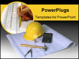 PowerPoint Template - hard hat, blueprints, hammer, calculator, calipher