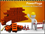 PowerPoint Template - 3d illustration of bricks wall construction white background