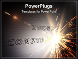 PowerPoint Template - Laser writing under construction on metal plate.