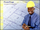 PowerPoint Template - Construction man smiling with architectural maps.