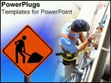 PowerPoint Template - Construction sign and worker nearby.