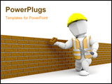 PowerPoint Template - 3D render of a person building a brick wall