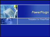 PowerPoint Template - his blue template with blue prints and men in hard hats is ideal for presentations on architecture