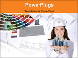 PowerPoint Template - a photo of blue prints home plans