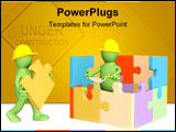 PowerPoint Template - 3d puppets building the house. Object over white