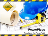 PowerPoint Template - Blue hard hat yellow pencil measuring tape and building plans
