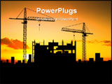 PowerPoint Template - Two cranes build construction over sunset (see more in my portfolio)