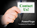PowerPoint Template - Card Contact us in hand - business background