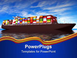 PowerPoint Template - Large container ship Against a beautiful sea landscape