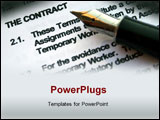 PowerPoint Template - A pen points to the words, \The contract\