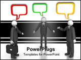 PowerPoint Template - A 3d image of business group talking about something.