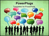 PowerPoint Template - Silhouettes of business people talking with lots of speech bubbles