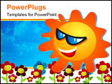 PowerPoint Template - cool sun wearing sunglasses.