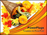 PowerPoint Template - Cornucopia with gourds and pumpkins in corner