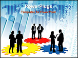 PowerPoint Template - Businesspeople are standing on a large mechanism conceptual business illustration.