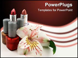 PowerPoint Template - tubes of lipstick, bottles of nail polish and a lily
