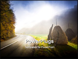 PowerPoint Template - Sunrise on a country road. Foggy autumn morning